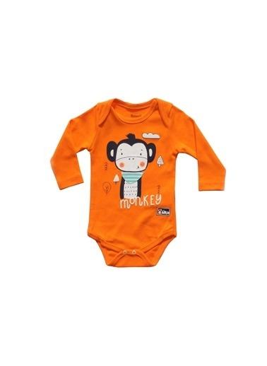 By Bebek Odam Maymun Desenli Turuncu 3'Lü Erkek Bebek Takımı Renkli